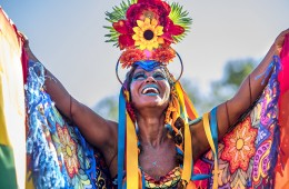 Rio de Janeiro, Brazil - February 9, 2016: Beautiful Brazilian woman of African descent wearing colourful costume and smiling during Carnaval 2016 in Rio de Janeiro, Brazil.
